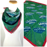 Unique Emerald Green Silk Crepe Neck Scarf Peacock Blue Stylized Flowers Merlot Red Trim Silk Head Scarf by Katja Abstract Floral Scarf