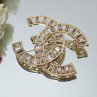Chanel Women Fashion CC Logo Rhinestone Plated Brooch