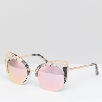 Island Exaggerated Cat Eye Marble Effect Sunglasses at asos.com