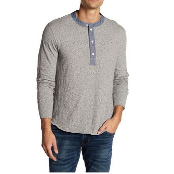 Todd Snyder Men's Heather Grey Classic Long Sleeve Henley Shirts