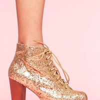 Lita Platform Boot - Gold Glitter in What's New at Nasty Gal