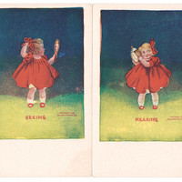 Now See Hear - Antique 1906 Postcard Prints, Seeing & Hearing, Little Girl Holding a Mirror and a Clock, Ullman 5 Senses Series