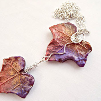 Ivy Leaf Necklace, Autumn Colors Leaf Necklace, Handmade Melt Art Jewel Enamel Leaves Silver Plated Wire Wrapped Necklace OOAK, UK Seller