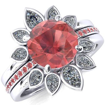 Flora Round Padparadscha Sapphire 1/2 Eternity Accent Padparadscha Sapphire Ring