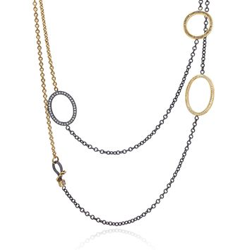 Todd Reed White and Raw Diamond Gold Silver Triple Open Link Necklace