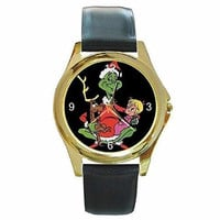 Christmas Grinch, Max and Cindy Lou Ho on a Womens Gold Tone Watch with Leath...