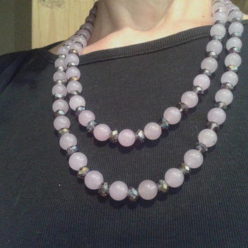 necklace  made of two rows of lavender  jade pearls and  faceted amethyst chinese crystal roundelle