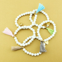 Great Deal Hot Sale New Arrival Stylish Shiny Gift Awesome White Ladies Yoga Tassels Bracelet [6464865409]