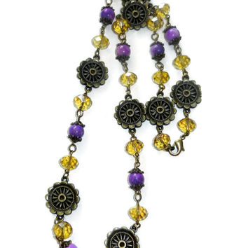 Purple, Gold and Bronze Floral Necklace