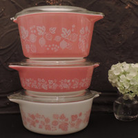 Pyrex Pink Gooseberry Cinderella Casserole Serving Set of Three Casserole Dishes featuring lids Vintage Pyrex Ovenware