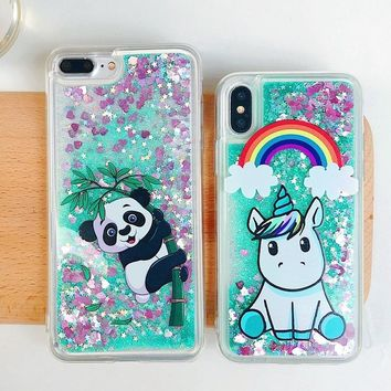 Coque for iPhone 7 Case Cover on for iPhone 9 Funda iPhone X 5 5s se 6 6s 7 8 Plus Case Cute Unicorn Liquid Quicksand Phone Case