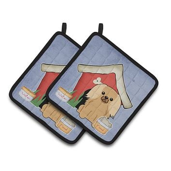 Dog House Collection Pekingnese Fawn Sable Pair of Pot Holders