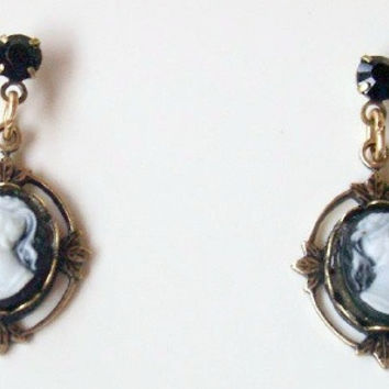 Black Cameo and Crystal Post Earrings