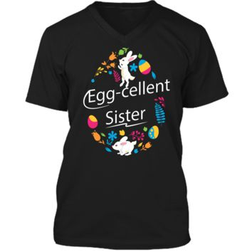 Family Matching Easter Outfit For Sister Mens Printed V-Neck T