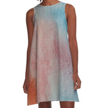 'Blue brown watercolors' A-Line Dress by lalylaura