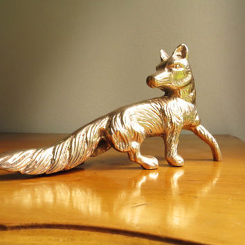 Vintage Brass Fox Figurine, Fox Statue, Woodland Animal Collectible, Paperweight, Rare