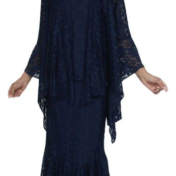 Hosanna 5029 Plus Size 3 Piece Set Navy Blue Tea Length Lace Dress