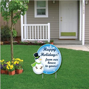 Snowman Happy Holidays! Message Christmas Lawn Display - Yard Sign