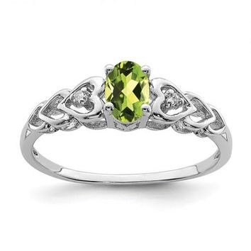 Sterling Silver Peridot & Diamond Hearts Birthstone Ring
