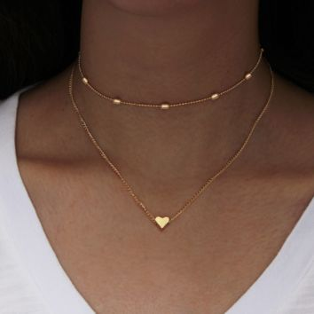 Simple tide girl street painted ornaments copper cadmium heart multi - layer clavicle necklace necklace