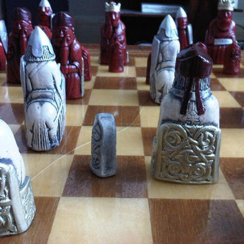 Isle of Lewis Chess Set - Hand Painted Regal Edition - Free Shipping