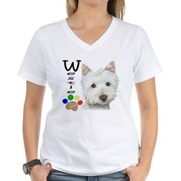 Westie Dog and Paw Print Design Women's V-Neck T-Shirt