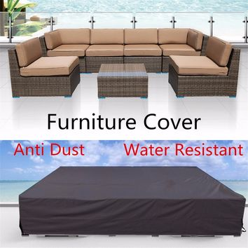 Large Black 210D Waterproof Anti Dust Rain Furniture Covers Elastic Home Garden Table Sofa Couch Cover Protection