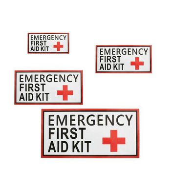 VONL8T Outdoor 4 Size First aid Emergency Vinyl Sticker Waterproof Label Signs Red Cross Health sticker for outdoor camping hiking