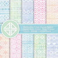 Watercolor Tribal Digital Paper, Printable Tribal Paper, Pastel Watercolor Paper, Aztec Patterns Tribal Scrapbook Paper, Pastel Tribal Paper