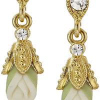 Downton Abbey Carded Gold-Tone Closed White Porcelain Rose Drop Earrings