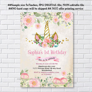 Unicorn invites, Birthday Invitation, gold unicorn girl birthday party for any age 1st 2nd 3rd 4th 5th 6th 7th 8th 9th 10th- card 1210