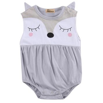 Newborn Infant Baby Boy Girls Cute Fox Cartoon Clothes Cotton Sleeveless O Neck Bodysuit Outfits