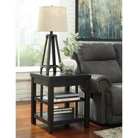 T752-2 Gavelston Square End Table - Rubbed Black - Free Shipping!