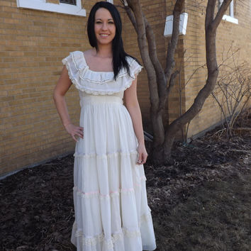 Gunne Sax Dress 70s Vintage Ivory Lace XS 9 Romantic Full Length