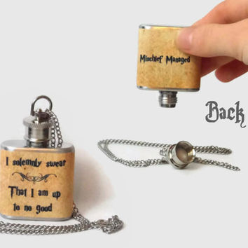 Flask Necklace 1oz I solemnly swear that I am up to no good harry potter -  Looks like normal necklace when flask is hidden