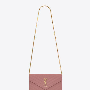 Saint Laurent MONOGRAM SAINT LAURENT CHAIN WALLET IN Old Rose GRAIN DE POUDRE TEXTURED MATELASSÉ LEATHER | ysl.com