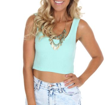 Ribbed Crop Tank Mint