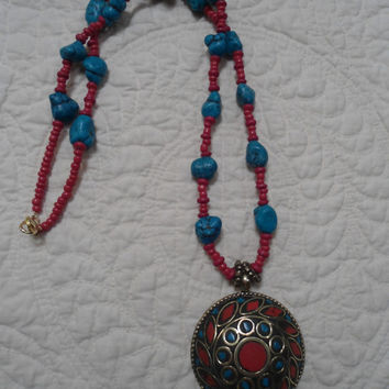 Large Inlaid Turquoise Coral Brass Pendant Chunk Turquoise Red Beads Handmade Beaded Necklace Southwest Hippie Boho Western Style Jewelry