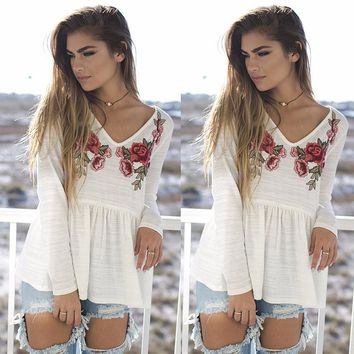 Long Sleeve Summer Embroidery V-neck T-shirts [28268462106]
