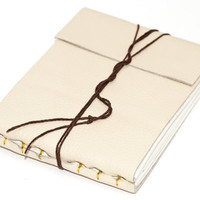 "Leather Journal or Leather Sketchbook, Cream, Medium Sized, Handbound Coptic Stitch - 3 3/4"" x 5 1/2"""