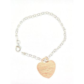 """Italian Rose Gold Plated Sterling Silver Scratched Heart Pendant Bracelet 7"""""""