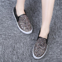 Fashion Bling Glitter Women Shoes Slip On Flats Casual Platform Loafers