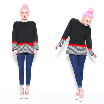 60s 70s Black Colorblock Houndstooth Sweater  by POMPOMCLOTHING