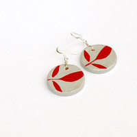 Dark red and gray leaf earrings. Circular clay pendants. Nature jewelry. Modern minimalist painted unique handmade jewelry. Red leaves.