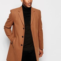 River Island Wool Overcoat In Camel