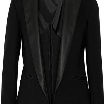 Theory Leandria.Classical leather-trimmed blazer – 55% at THE OUTNET.COM