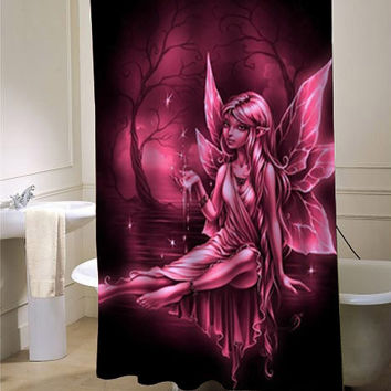 pink fairy shower curtain customized design for home decor