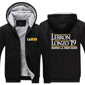 Labron Lakers Thciken Hoodie LeBron Lonzo Make Los Angeles Great Again Fleece Hoodie LeBron James LA Lakers Winter Warm Hoodie