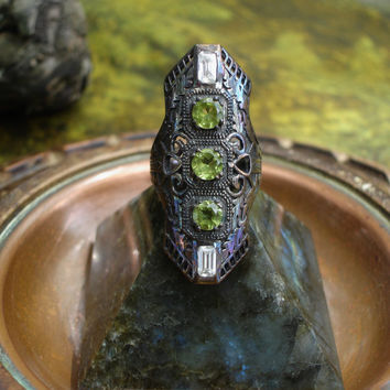 Peridot ring, armor ring, art deco ring, steampunk, large ring, gemstone ring, vintage, oxidized silver ring,birthstone ring, shield ring