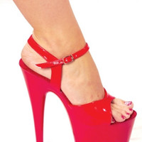 "7"" Red Platform Sandal Stripper Wear"
